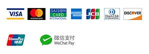 クレジットカード各種ロゴ、銀聯カードロゴ、WeChat Payロゴ