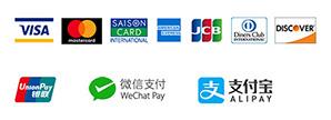 クレジットカード各種ロゴ、銀聯カードロゴ、WeChat Pay、ALIPAY(支付宝)ロゴ